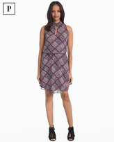 White House Black Market Petite Printed High Neck Blouson Dress