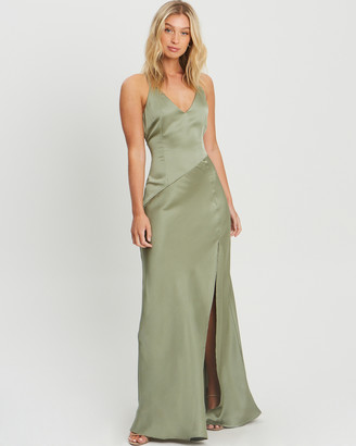 CHANCERY - Women's Green Bridesmaid Dresses - Adele Bias Maxi - Size One Size, 10 at The Iconic