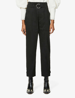 Frame Harem belted tapered high-rise linen-blend trousers