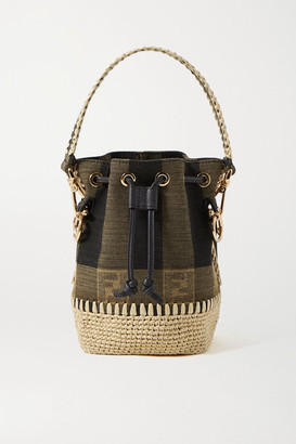 Fendi Mon Tresor Mini Raffia-trimmed Jacquard Bucket Bag - Brown