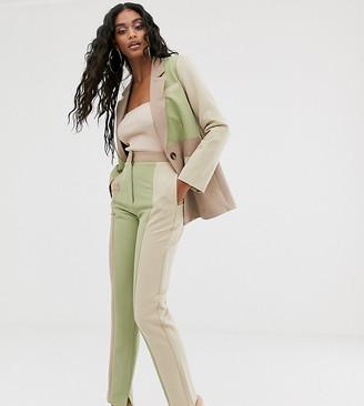 UNIQUE21 slim suit trousers in tonal colour block co-ord-Multi