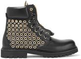 Balmain Eyelet-embellished leather ankle boots