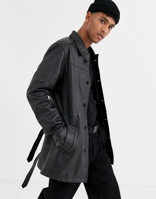 ASOS DESIGN leather single breasted trench coat in black