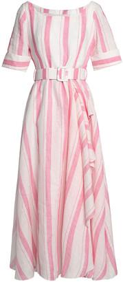 Gül Hürgel Belted Striped Linen Midi Dress
