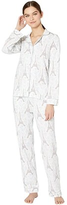 Bedhead Pajamas Long Sleeve Classic Notch Collar Pajama Set (Blue Eiffel) Women's Pajama Sets
