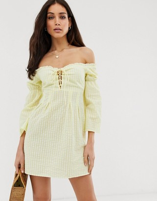 Stradivarius STR bardot dress with interest sleeves in gingham yellow