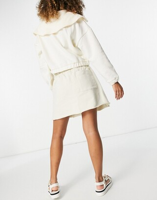 Weekday Ada organic cotton plant based dye mini pull on skirt in off white