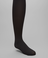 Me Moi Black Ribbed Opaque Tights - Toddler & Girls