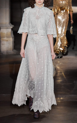 Paco Rabanne Embroidered Silk Georgette Maxi Dress