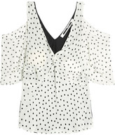 McQ by Alexander McQueen Cold-shoulder Polka-dot Georgette And Satin Top - Off-white
