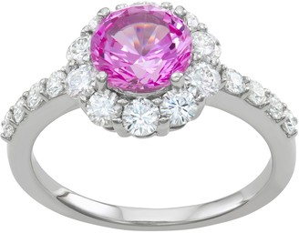 Charles & Colvard 14k White Gold 2 3/4 Carat T.W. Lab-Created Moissanite & Lab-Created Pink Sapphire Halo Ring