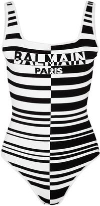Balmain Monochrome striped stretch-knit bodysuit