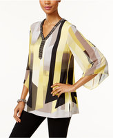 JM Collection Printed Sheer-Sleeve Top, Only at Macy's