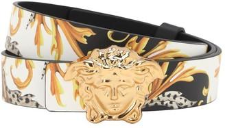 Versace Reversible Leather Belt W/ Medusa Buckle