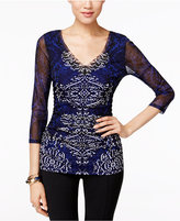 INC International Concepts Printed Ruched Blouse, Only at Macy's