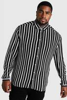 Big & Tall Long Sleeve Stripe Print Shirt