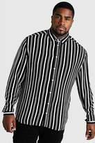 BoohoomanBoohooMAN Mens Black Big & Tall Long Sleeve Stripe Print Shirt, Black