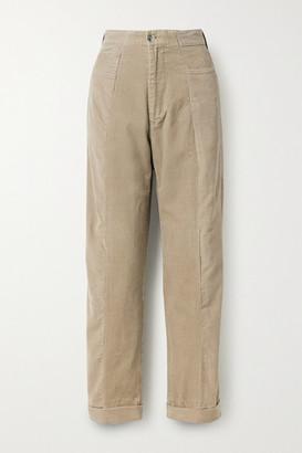E.L.V. Denim Two-tone Cotton-corduroy Boyfriend Pants - Beige