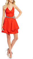 I.N. San Francisco Beaded-Waist Tiered Skirt Party Dress