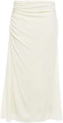 Theory Ruched Stretch-silk Midi Skirt