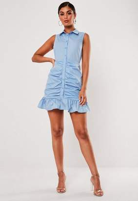 Missguided Blue Poplin Sleeveless Shirt Dress