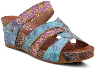 Spring Step L'Artiste By Leather Wedge Sandals- Pinriyo