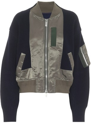 Sacai Wool-trimmed bomber jacket