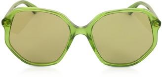 Gucci GG0258S Geometric-frame Transparent Green Acetate Sunglasses