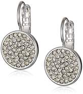 Anne Klein Classics Silver Tone and Crystal Pave Drop Earrings