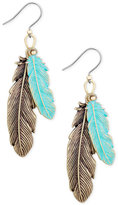 Lucky Brand Two-Tone Double Feather Drop Earrings