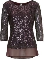 Vera Mont Sequin and chiffon layered top