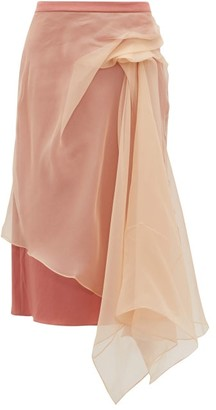 Sies Marjan Nadine Gathered Silk-organza And Satin Skirt - Womens - Beige