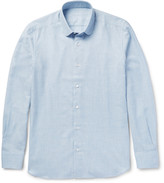 Caruso Slim-Fit Penny-Collar Cotton and Wool-Blend Shirt