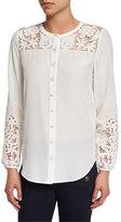 Veronica Beard Alma Long-Sleeve Embroidered Silk Blouse, Off White