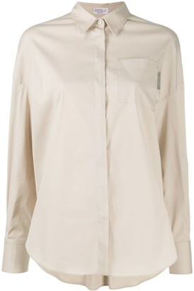 Brunello Cucinelli Embellished Tab Long Sleeve Shirt