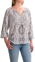 Foxcroft Liza Geo Paisley Peasant Top - Long Sleeve (For Women)