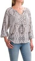 Foxcroft Liza Geo Paisley Peasant Top - Long Sleeve (For Women)