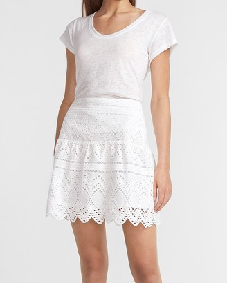 Express High Waisted Eyelet Lace Mini Skirt