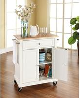 Crosley 28-1/4 in. W Natural Wood Top Mobile Kitchen Island Cart in White
