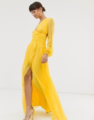 Asos Design DESIGN maxi dress with smocking and balloon sleeve-Yellow