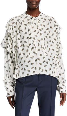 Isabel Marant Floral-Print Ruffled Tie-Neck Silk Blouse
