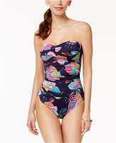 Anne Cole Cactus Floral-Print Shirred One-Piece Swimsuit