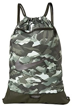 Nike Brasilia All Over Print Gym Sack - 9.0 (Light Smoke Grey/Metallic Cool Grey) Backpack Bags