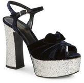Saint Laurent Candy Velvet & Glitter Platform Sandals