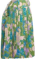 Balenciaga Tubular Pleated Floral-print Crepe Midi Skirt - Green