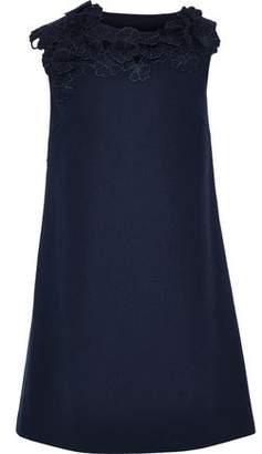 Lanvin Floral-appliqued Wool-crepe Mini Dress