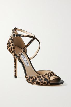 Jimmy Choo Emsy 100 Leopard-print Calf Hair Sandals - Leopard print