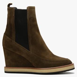 Daniel Naro Khaki Suede Wedge Chelsea Boots