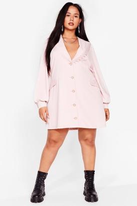 Nasty Gal Womens Plus Size Vintage Style Lace Collar Blazer Dress - Pink - 16, Pink