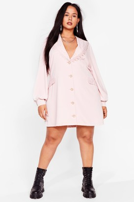 Nasty Gal Womens Plus Size Vintage Style Lace Collar Blazer Dress - Pink - 16